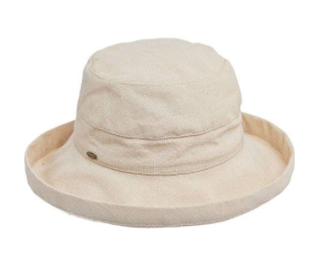 "Packable big brim hat 50+ UPF protection  3"" big brim hat 100% Cotton sand color"