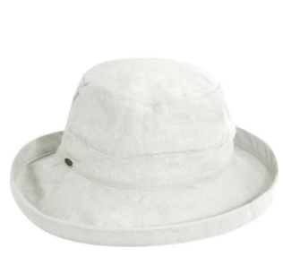 "Packable big brim hat 50+ UPF protection  3"" big brim hat 100% Cotton white"