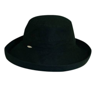 "Packable big brim hat 50+ UPF protection  3"" big brim hat 100% Cotton black"