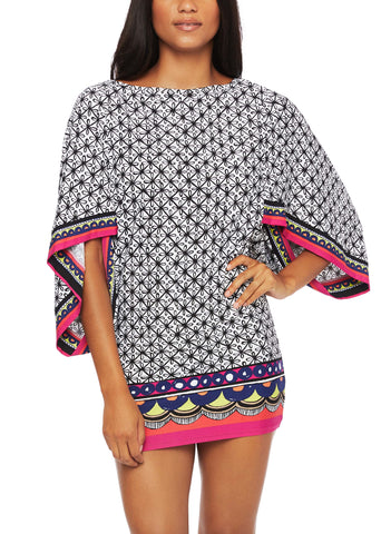 Pretty Palm Hooded Tunic Cover Up