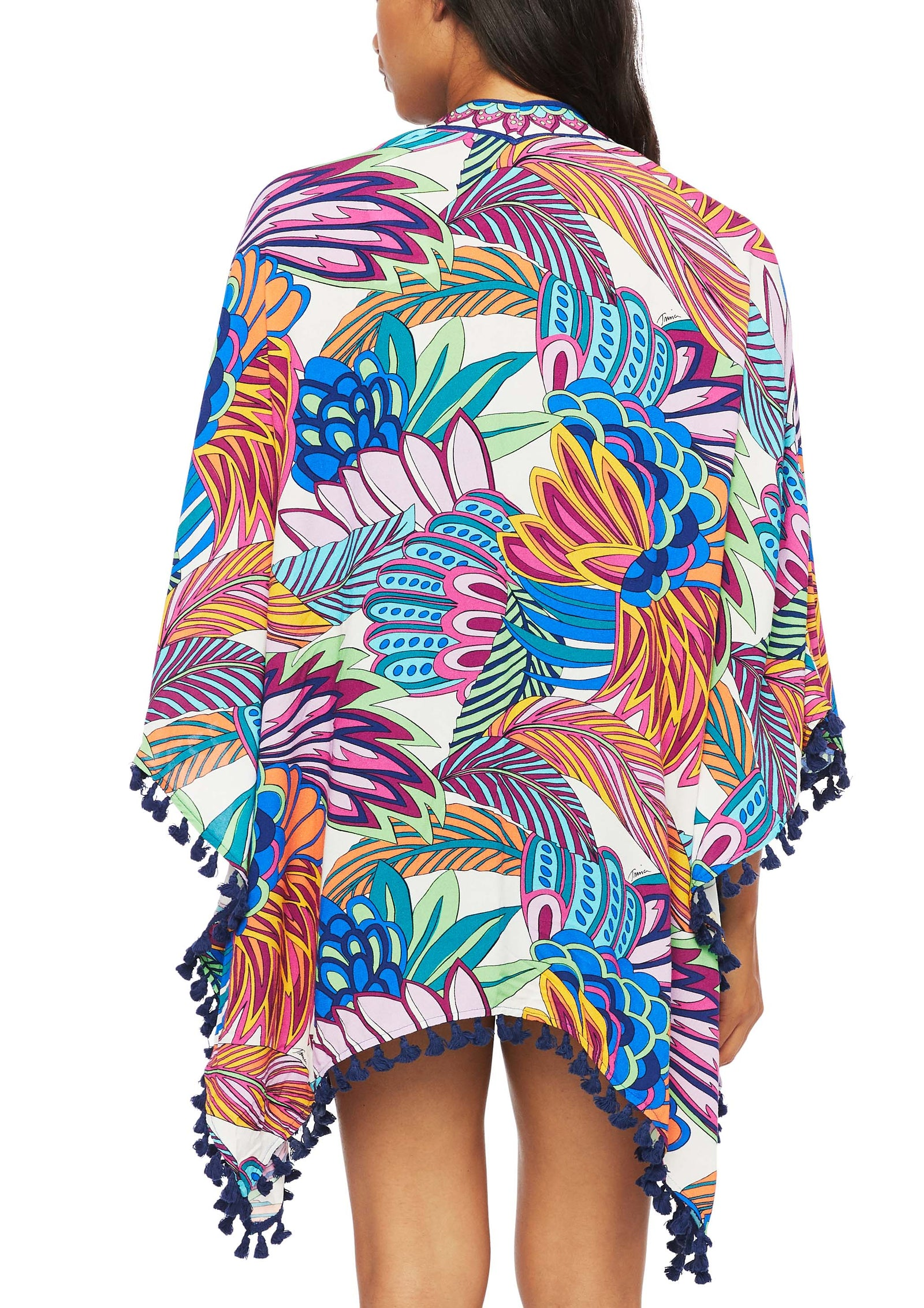 When the tiki bar beckons, slip into this tassel-tipped cover-up tumbled with a vibrant tropical print.  Open-front style 3/4-length sleeves Tassel trim at hem 100% Viscose Hand wash Imported Product Number: TT0AR27