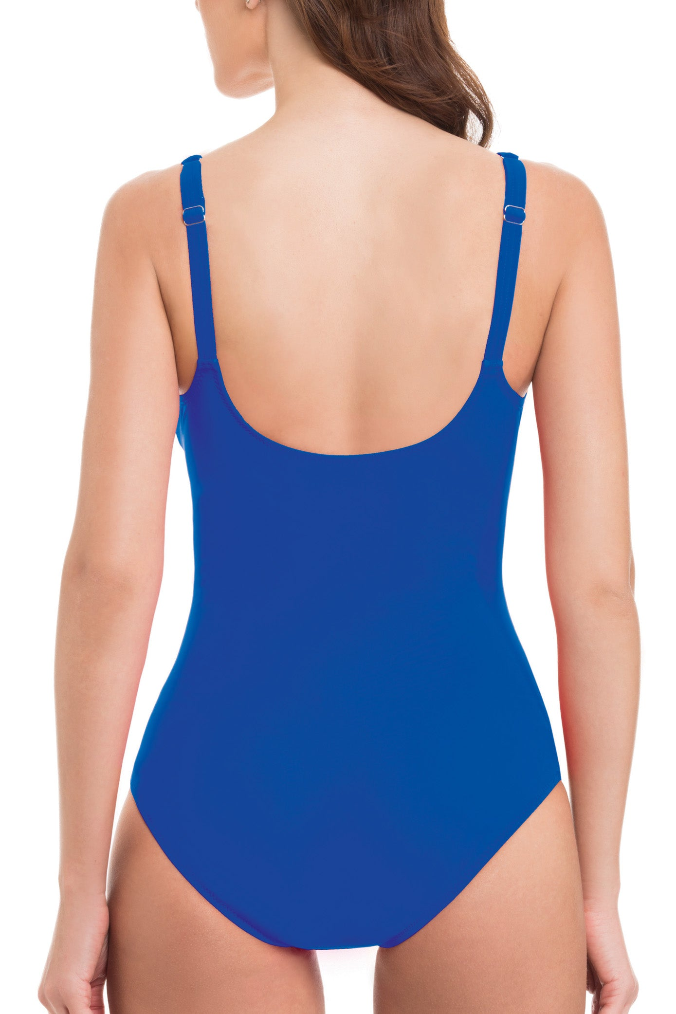 Scoop neck Adjustable over-the-shoulder straps Non-removable soft cups Ruched Tummy control panel Full bottom coverage Polyamide/elastane royal back view