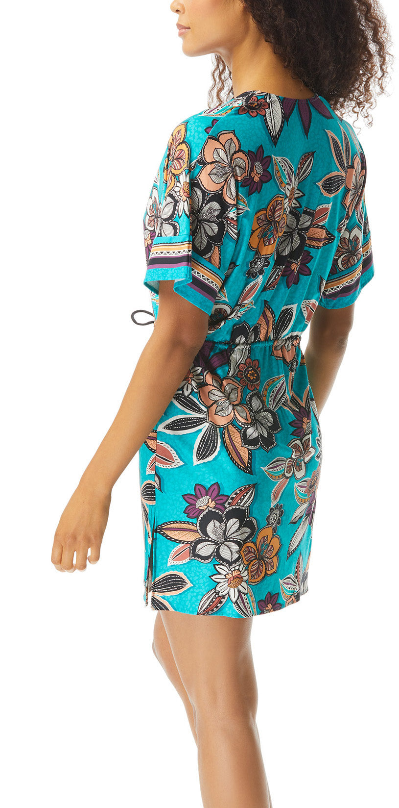 Caftan Swimsuit Cover Up Deep V-Neck 3/4 Length Kimono Sleeves Cinched Waist with Shell Tipped Ties Hand Wash Cold, Line Dry Fabric: 91% Nylon / 9% Spandex Product Number: U48039