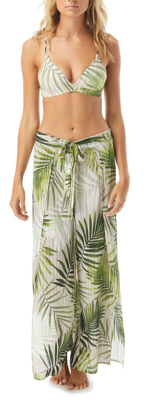 Crafted of sheer tropical-print fabric, these breezy cover-up pants are designed with sexy split-seams and wrap styling that reveals just the right amount of leg. Wear the pants with our matching Palm-print Bikini Top and a ribbed tank for a chic boardwalk-to-brunch look.    92% nylon, 8% spandex  Hand wash cold, line dry  Imported  Product Number: V67911