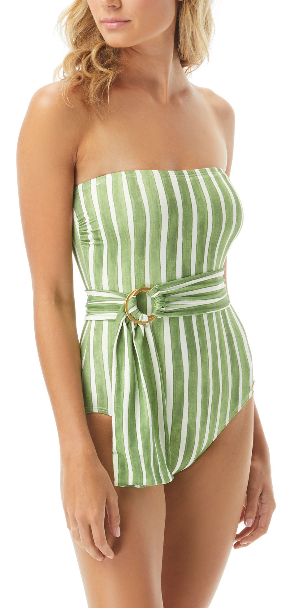 Bandeau neckline  Removable soft cups Removable strap Belt with ring Fully lined Full coverage Nylon/spandex Pull-on construction Hand wash Product Number: V72679
