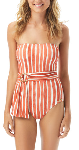Tropical Palm Reversible U-Neck One Piece