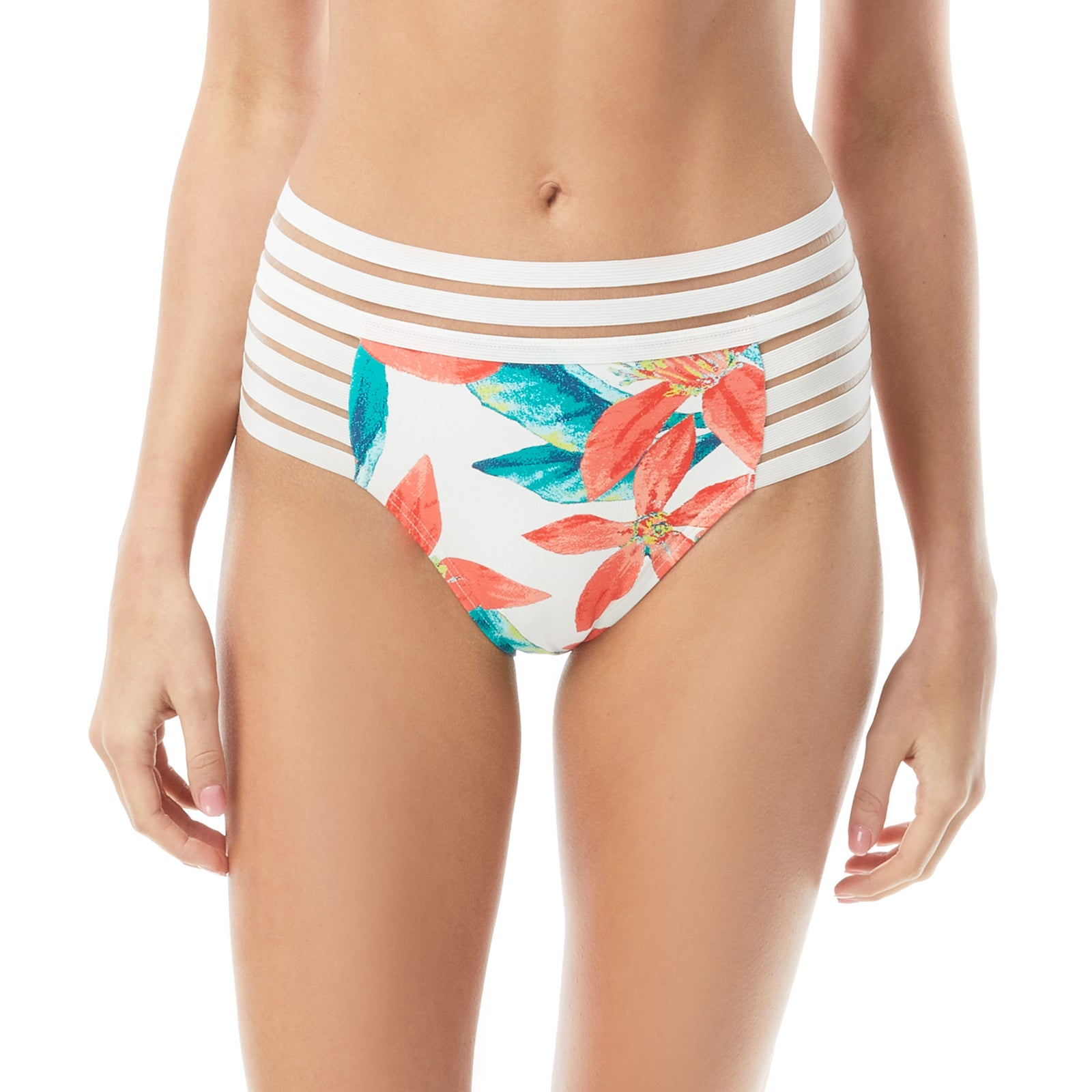 Vince Camuto Wild Oleander print bikini bottom High wasted bottom Mesh elastic detailing  white background with green and pink floral print front view
