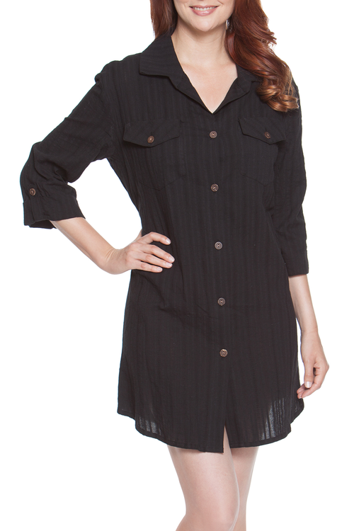 Dotti Sunny Stripe plus size shirt dress cover up  Long sleeve with roll-up tab  Natural wood full front button up  Two button pockets at chest Rounded hemline 100% Cotton  Machine wash cold black