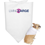 Living Large Doggie Bandana - Blue Lettering With Pink Paw Print