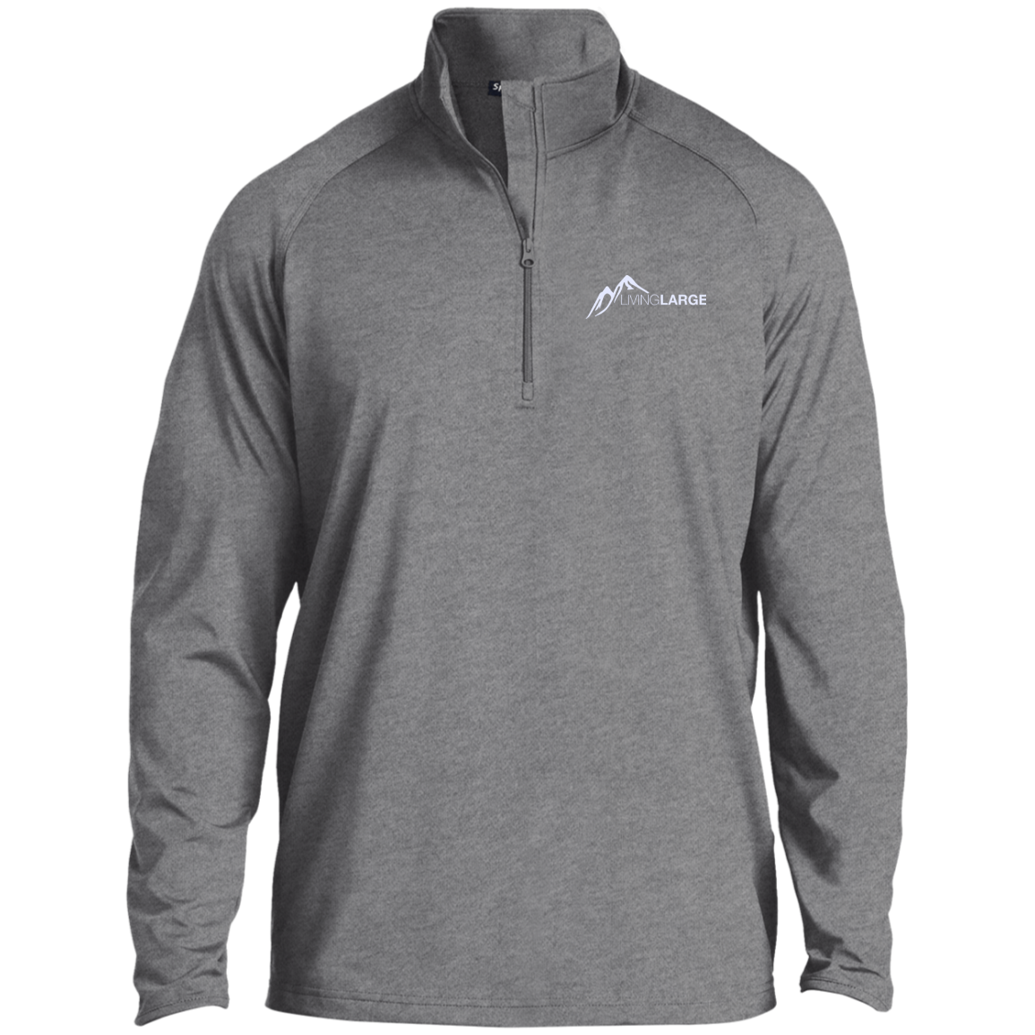Living Large - The Simply Sporty White Peak 1/2 Zip Raglan Performance Pullover