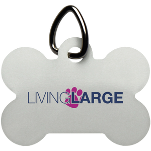 Living Large Dog Bone Pet Tag - Blue Lettering With Pink Paw Print