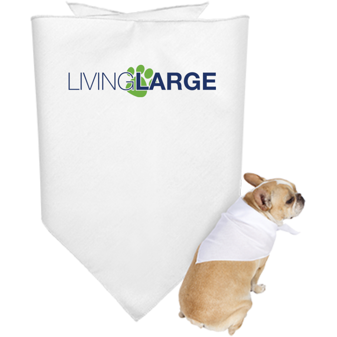 Living Large Doggie Bandana - Blue Lettering With Green Paw Print