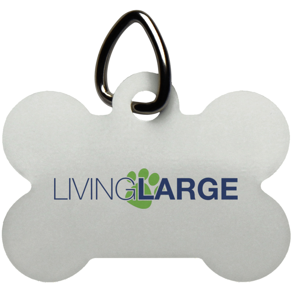Living Large Blue Dog Bone Pet Tag - Blue Lettering With Green Paw Print