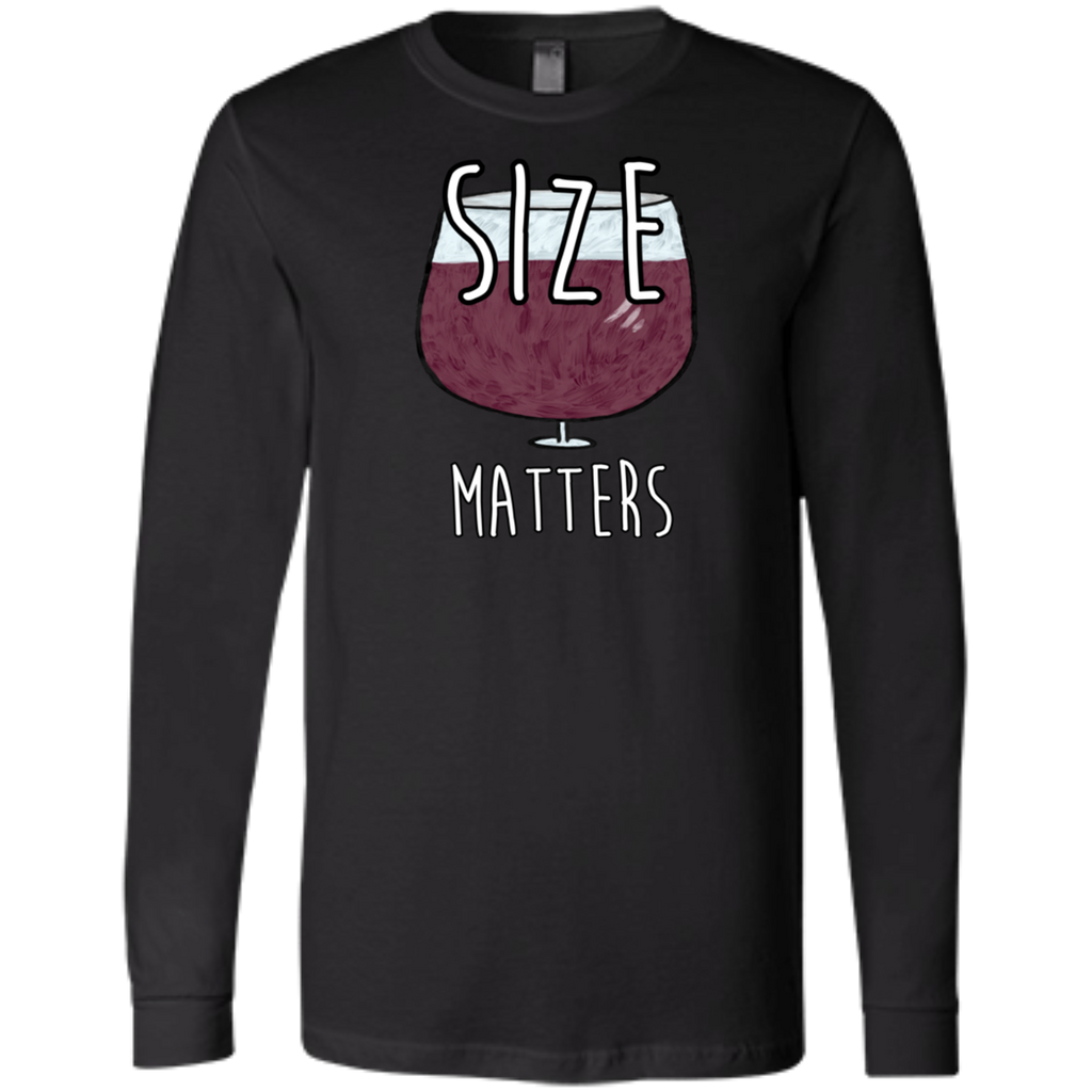 Funny Size Matters Wine Lover Enthusiast Unisex Long Sleeve T-Shirt Gifts