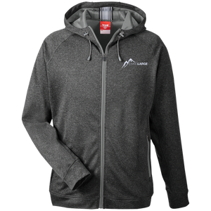 Living Large - The Daring Dane White Peak Men's Heathered Performance Hooded Zip Up Jacket
