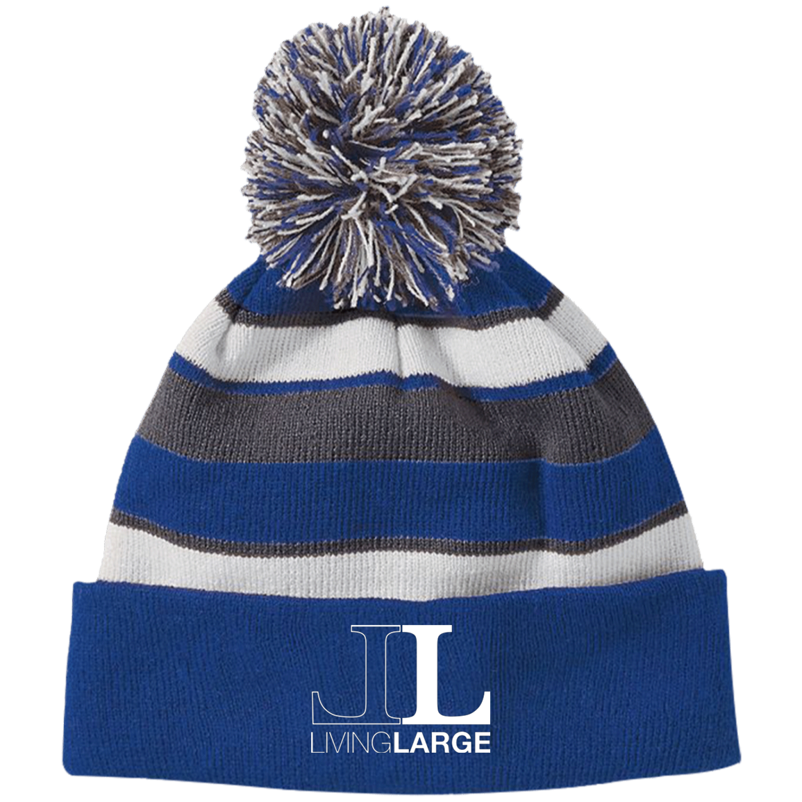 Living Large - Striped Beanie with Pom