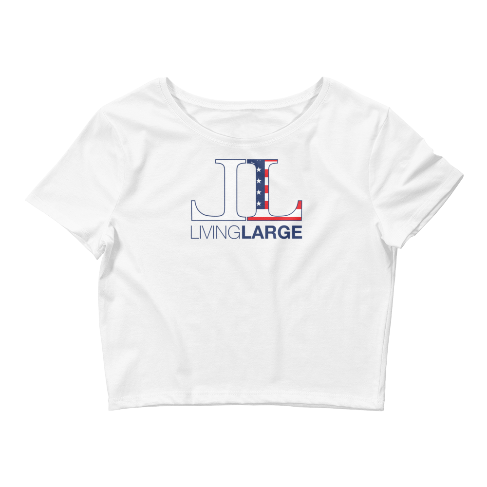 Living Large - The Blissful Bella All American Women's Crop Top Tee