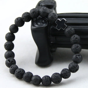 8mm Black Beaded Lava Stone Cross Bracelet