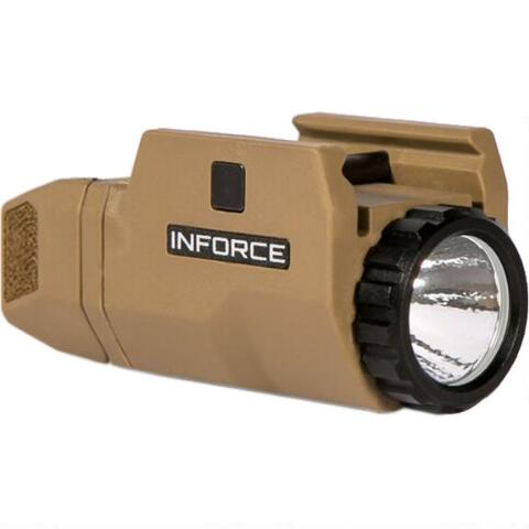 INFORCE APLc UNIVERSAL COMPACT 200 LUMEN, LED, w/MIL-STD-1913 RAILS. FDE. DOES NOT FIT GLOCK.  SKU: AC-06-1