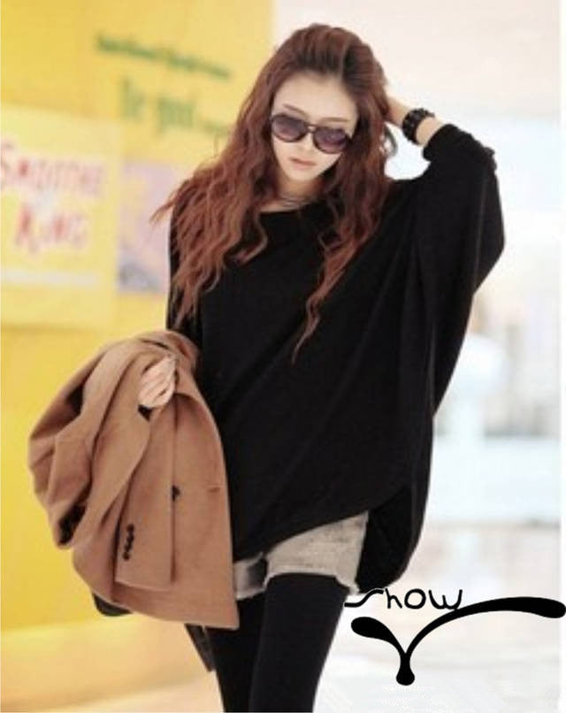 Casual Women Slouchy Knit Shirt Scoop Neck Batwing Sleeve Stretchy Loose Pullover-women's