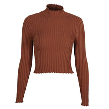 Conmoto Crop Basic Ribbed Turtleneck Sweater Women Pullover Sweaters -women's