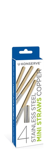 Stainless Steel Mini Straws (4-Pack) - Copper