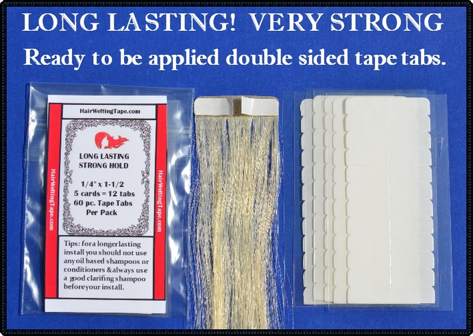 Long Lasting 60 pc. Hair Extension Tape Tabs 5/16