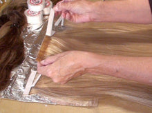 Make your own tape-in hair extensions using our wefting tape.