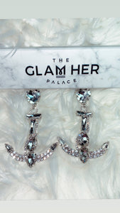 The Glam Her Crystal Anchor Earrings