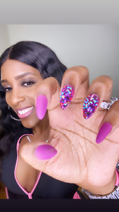 The Glam Her Grape matte blinged press on nail