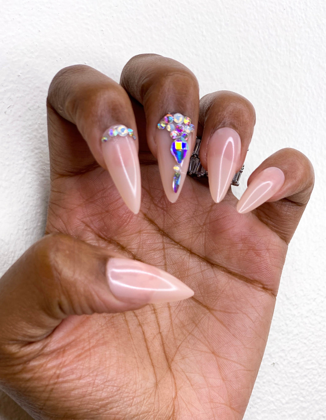 The Glam Her Midi Gem Stone Press On Nails