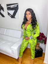 Load image into Gallery viewer, The Royalty neon green snake skin print track suit