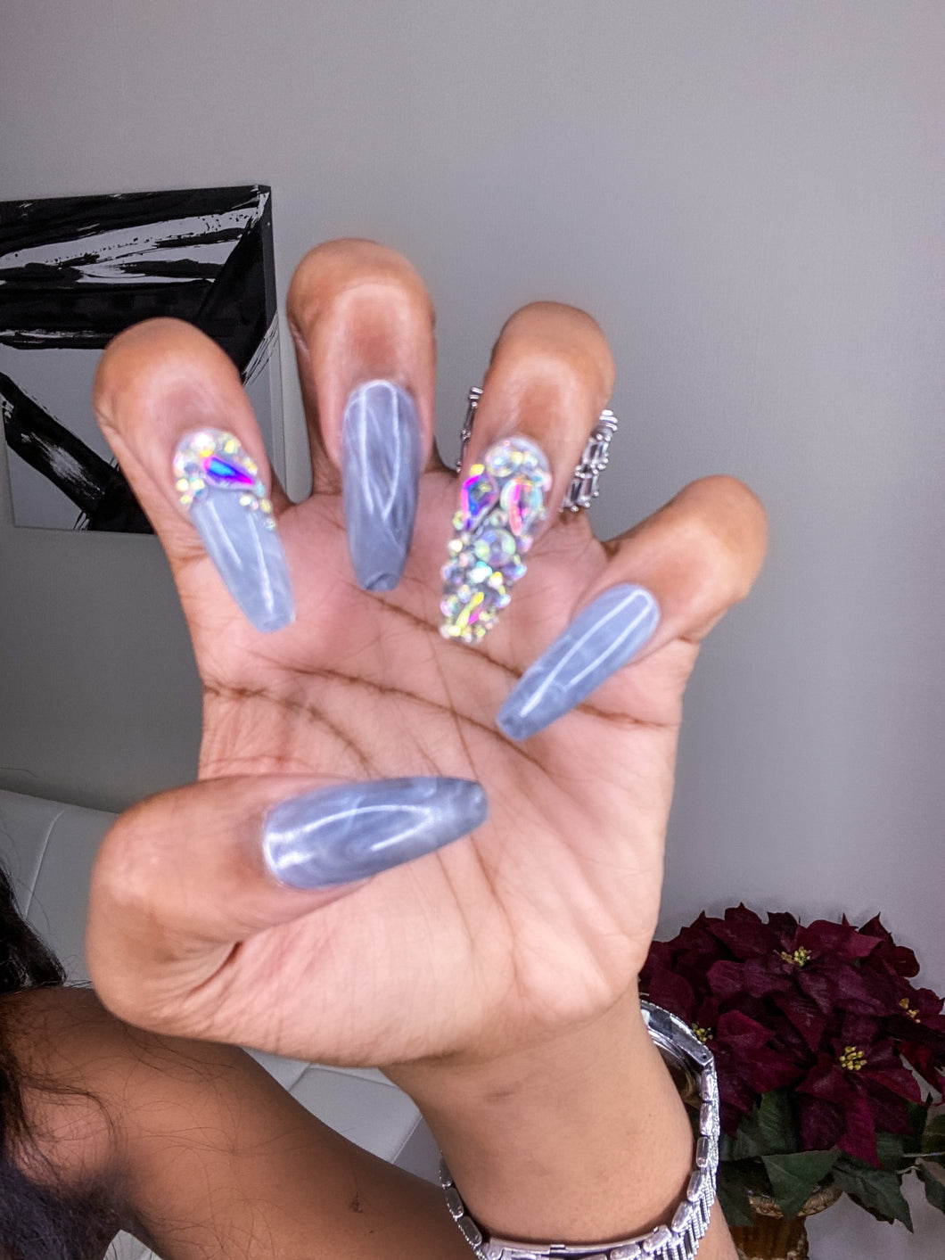 The Royalty Gray Marble Iced out Press-On nails