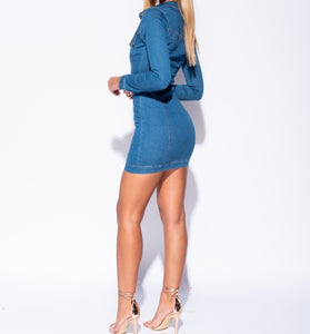 The Royalty Denim Button Down Dress