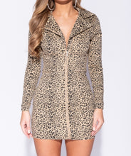 Load image into Gallery viewer, The Royalty Leopard Print Zip Biker Dress