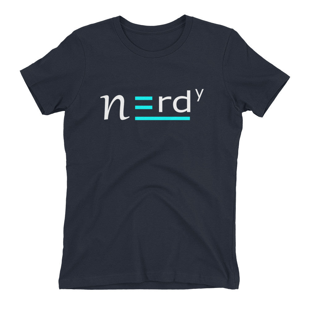 Nerdy Girl Signature Teal and White Tee