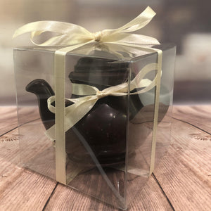 Wrapped dark chocolate teapot