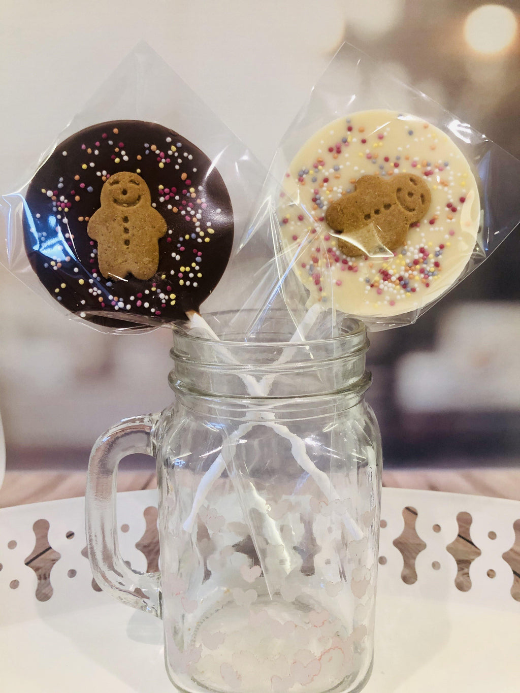 Gingerbread Man Sprinkles Lollipop - The Little Chocolate Teapot Company