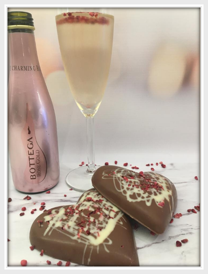 Raspberry & Champagne Chocolate Heart