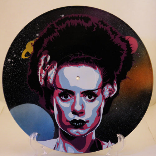 Bride of Frankenstein Psychedelic 80s Retrowave Spray Paint and Stencil Vinyl Record Art