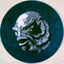 Creature From the Black Lagoon Spray Paint and Stencil Vinyl Record Art