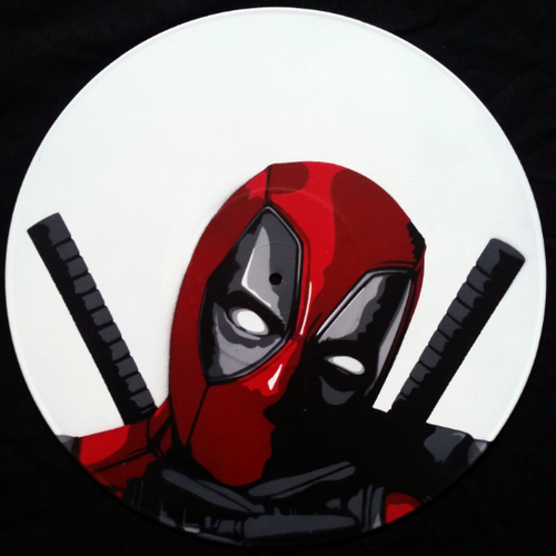 Deadpool Wade Wilson Thumbs Up Spray Paint and Stencil Vinyl Record Art