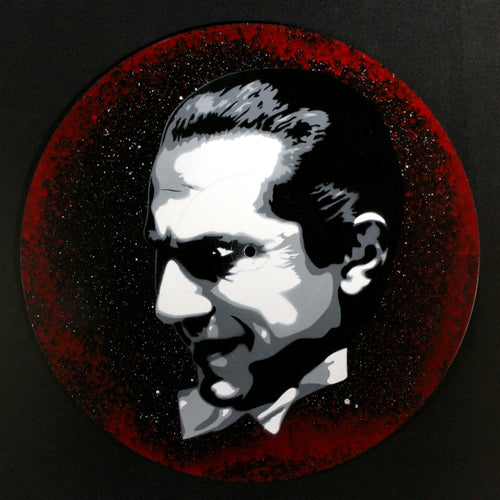 Dracula Bela Lugosi Spray Paint and Stencil Vinyl Record Art