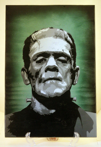 Frankenstein's Monster Spray Paint and Stencil Art on Wood