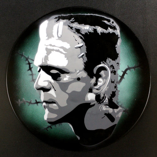 Frankenstein's Monster Spray Paint and Stencil Vinyl Record Art