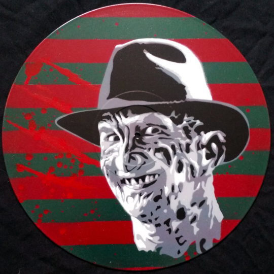 Freddy Krueger Spray Paint and Stencil Vinyl Record Art