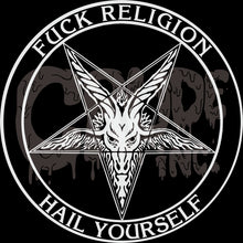 Fuck Religion, Hail Yourself Shirt, Horror tshirt, Goth tee, screen printed T shirt Active