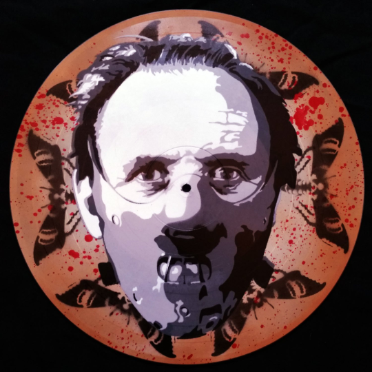 Hannibal Lecter Silence of The Lambs Spray Paint and Stencil Vinyl Record Art