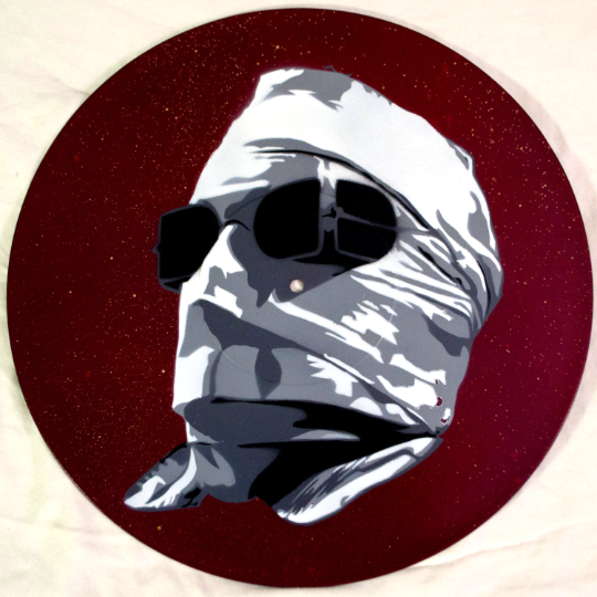 Invisible Man Claude Rains Spray Paint and Stencil Vinyl Record Art