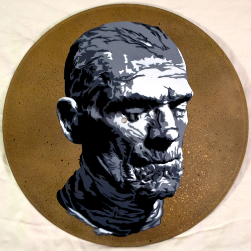Mummy Spray Paint and Stencil Vinyl Record Art